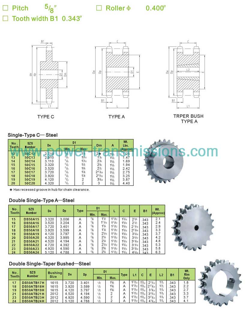 Double Single Sprockets &Single Type C Sprockets No.50